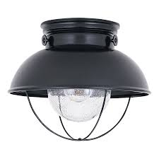 sea gull lighting sebring 11 25 in w black outdoor flush mount light