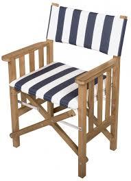whitecap 61050 teak director s chair ii with navy white striped seat cushion
