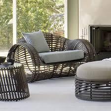 rattan patio barrel chair with cushion