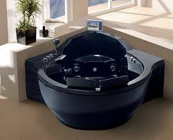 black modern jetted bathtub with television design