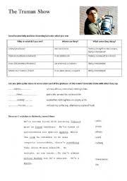 intermediate esl worksheets the truman show english worksheet the truman show