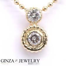 k18yg yellow gold diamond 0 20ct 2 ishimaru round ball chain design necklace
