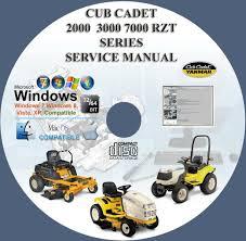 cub cadet rzt series tractors mowers service cub cadet 2000 3000 7000 rzt series tractors mowers service repair workshop manual on cd