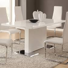 Buy Modern Dining White Dining Table With Chrome Metal Base By Coaster