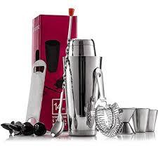 FineDine Expert <b>Cocktail Shaker</b> Home <b>Bar</b> Set - <b>14 Piece</b> Stainless ...