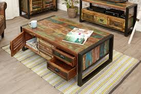 furniture solid wood coffee table drawers and shelf rustic wooden large round mango beautiful furniture
