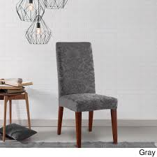 sure fit stretch jacquard damask dining room chair slipcover on orders over 45 overstock 10296074