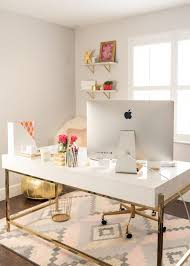 White work desk Ikea Malm Home Office White Lacquer Campaign Desk Geometric Print Rug Pinterest Chic Office Essentials Home Interior Pinterest Home Office