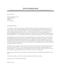 Cover Letter Hospitality Management Perfect Resume