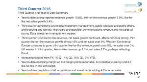 Wpp Plc 2016 Q3 Results Earnings Call Slides Wpp Plc Nasdaq