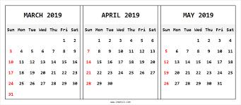 Calendar March April May 2019 March April May