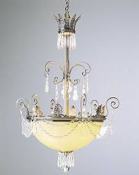 bowl pendant with hanging crystal