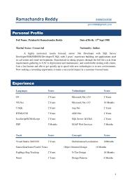Sql Server Experience Resumes Sample Resume Format For 5 Years Experience Resume Format