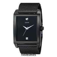 new guess watch for men black ion plated mesh bracelet diamond image is loading new guess watch for men black ion plated