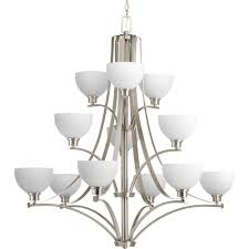 progress lighting legend collection 12 light brushed nickel chandelier with sculpted glass shade