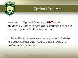 Rasmussen Optimal Resume Optimal Resume Presentation Students