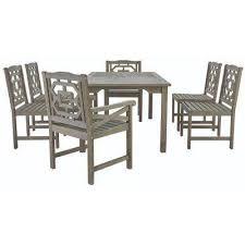 blue hill 7 piece all weather eucalyptus wood patio dining set