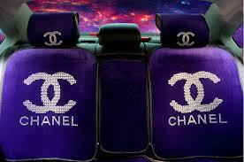 name luxury diamond chanel universal automobile velvet car seat cover cushion 10pcs sets purple