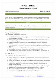 Package Handler Resume Samples Qwikresume