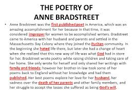 bradstreet and edwards ppt the poetry of anne bradstreet