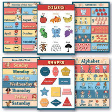 6 Educational Laminated Poster Teaching Charts For Classrooms Early Education For Learning Alphabet Abc Days Of The Week Shapes Counting Chart