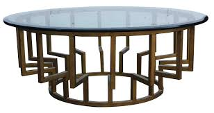 Coffee Tables : Breathtaking Interior Round Glass Coffee Table Counter Top  Plus Brown Wooden Stand Also Circle Base Placed On The White Floor Metal  And Wood ...