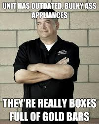 Unit has outdated, bulky ass appliances they're really boxes full ... via Relatably.com