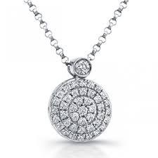 14k white gold diamond disk pendant