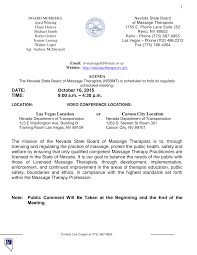 State of Nevada Board of Massage Therapy Agenda October 16, 2015