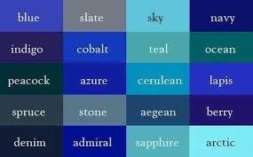 Shades Of Blue Color Chart Llr Blue Color Chart Color Shades Color Names Color Theory