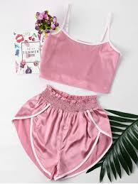 [35% OFF] [<b>HOT</b>] <b>2019</b> Contrast Trim <b>Cami</b> And Shorts Set In PINK ...