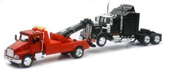 New Ray New 1:43 NEWRAY Truck & Trailer Collection - Kenworth T300 Tow Truck & W900 CAB Diecast Model Toys