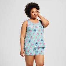 plus size short sets womens plus size nite nite by munki munki octopus jersey loose tank