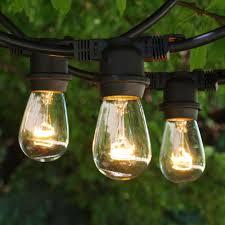 48 ft black commercial medium string light 11s14 clear bulbs