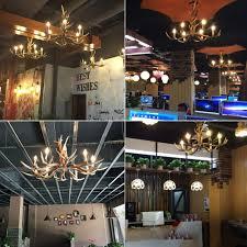 Restaurant Ceiling Lights Deer Horn E12 Bulb 6 Light Iron Resin Industrial Retro