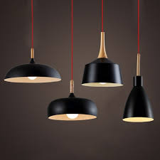 modern pendant light nordic style suspension luminaire hanging lamp vintage rustic wood aluminium modern hanging lights d64