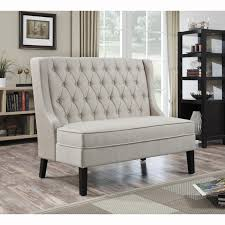 Padded Benches Living Room Linen Tufted Upholstered Settee Bench Dining Room Tables Living