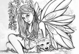 Fairies Falling Coloring Pages For Kids Best Free Angel Of Fairy