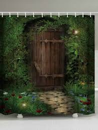 fairy forest wood door fabric shower curtain deep green w71 inch l79 inch