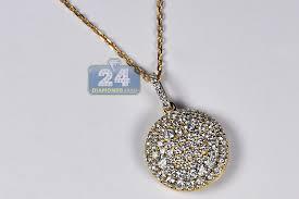14k yellow gold 1 62 ct diamond smiley round pendant necklace