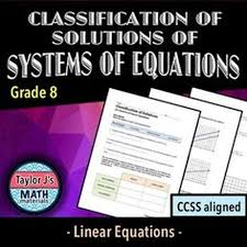 classification of solutions of systems of equations worksheet students determine whether a system has one solution