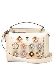 fendi dotcom flower appliqué leather bag cream womens fendi monster sneakers fendi bag charm clearance s