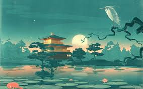 wallpaper trees drawing painting forest leaves ilration birds animals sea night asian architecture lake nature reflection artwork
