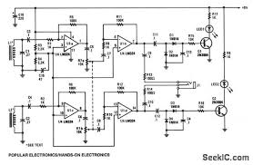 tracer_receiver communication_circuit circuit diagram seekic com Circuit Finder the tracer receiver is a stereo audio amplifier detector circuit operating near 1 khz inductors l1 and l2 hand wound coils, consisting of 200 turns of 26