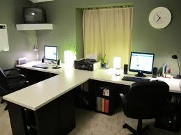astonishing double t desk home office idea with black swivel chairs plus beam table lamps and