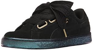 puma shoes suede black. puma women\u0027s suede heart satin wn\u0027s fashion sneaker, puma black-puma black, shoes black