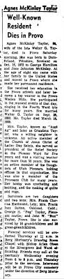 Agnes McKinley Taylor obit The Daily Herald 5 July 1959 page 4 ...
