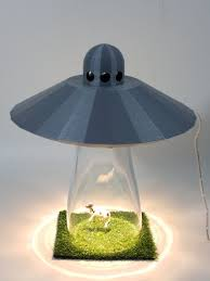 Silver Ufo Alien Abduction Desk Lamp Cow Farm Sci Fi Spaceship Outerspace Space Bedroom Night Light Home Office