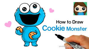 cookie monster drawing cute. Contemporary Monster How To Draw Cookie Monster Easy And Cute Intended Drawing YouTube