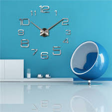 office room diy decoration blue. Image Is Loading Modern-Large-3D-Mirror-Surface-Wall-Clock-Sticker- Office Room Diy Decoration Blue